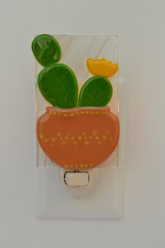 This flowering cactus fused glass night light will fit in perfectly with your southwest or desert decor! The glass pieces were fused together in Fused Glass Plates, Fused Glass Art, Mosaic Art, Mosaic Glass, Mosaics, Stained Glass Night Lights, Glass Lights, Wine Bottle Candles, Glass Bottles