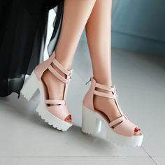 T Straps Peep Toe Platform Sandals High Heels Chunky Heel Pumps 1954 – Shoeu Chunky Sandals, Chunky Heel Pumps, Pumps Heels, Heeled Sandals, Sandal Heels, Stiletto Heels, Vetement Fashion, Sandals Outfit, Chunky Heels Outfit