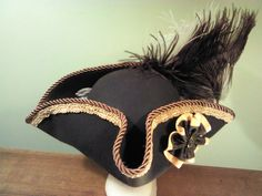 Pirate hat tricorn style brown with brown/gold trim-I think I need this