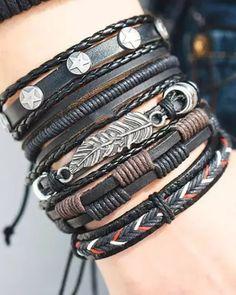Braided Bracelets, Layered Bracelets, Bracelets For Men, Handmade Bracelets, Fashion Bracelets, Bangle Bracelets, Bracelet Men, Men's Leather Bracelets, Hermes Bracelet