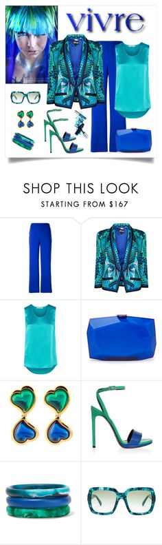 """Just Cavalli Scale Print Jacket Look"" by romaboots-1 ❤ liked on Polyvore featuring P.A.R.O.S.H., Just Cavalli, Pierre Balmain, Monique Lhuillier, House of Lavande, Yves Saint Laurent, Dinosaur Designs and Dolce&Gabbana"