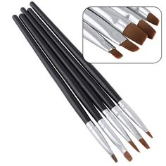 5 Pcs Black Flat Acrylic Nail Brushes Pen Set -- This is an Amazon Affiliate link. Check out the image by visiting the link.