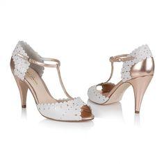 Monique Porcelain & Rose Gold Leather T-Bar Vintage Wedding Shoe - Rachel Simpson Shoes