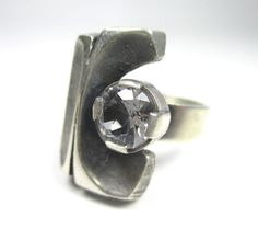 #forsale > Karl Laine for Sten & Laine (FI), vintage modernist silver and rock crystal ring, 1970s. #finland   finlandjewelry.com