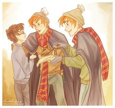 The Weasley twins give Harry the Marauder's Map - art by *viria13