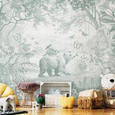 Kinderkamer behang | Kinderkamerstylist Scenic Wallpaper, Nursery Wall Decor, Nursery Ideas, Kids Room Wallpaper, Safari Nursery, Woodland Baby, Safari Animals, Pet Toys, Home Deco