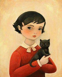 Gal & black kitty