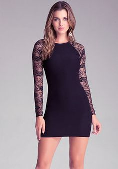 bebe Raglan Lace Sleeve Dress