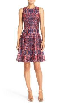 982d7053630f0 Maggy London Print Mesh Fit & Flare Dress (Regular & Petite) | Nordstrom