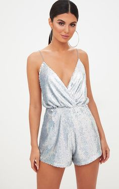 9200007cf49f Silver Strappy Sequin Wrap Romper Wrap Playsuit