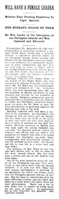 """The news article from the Georgia Constitution (dated 23 September 1897) refers to a Mrs. """"Hozae"""" Rizal, Mariana Comenot Orbi. It continues on with many inaccuracies, from Dr. Rizal's role as a president of a university she was attending to how the good doctor was shot against a wall, among others. #kasaysayan"""
