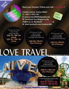 Universal Studios Singapore (USS) package, entrance ticket + 2 ways transfer Johor Bahru to USS or with 2D1N stay in Johor Bahru. Promotion 2017 by Love Travel. Visit www.facebook.com/lovetravel86 -anjasmara