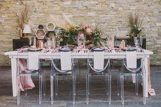 Black, blush and metallic tablescape