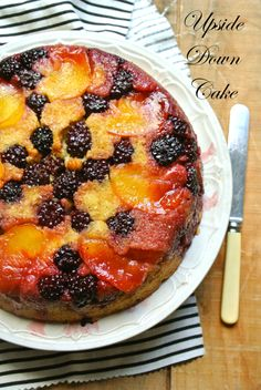Blackberry Peach upside down cake -- in skillet, moist, low sugar, Gluten Free --> made with corn meal & almond meal