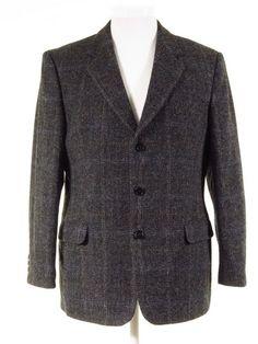 Harris Tweed jacket black grey grid check 44S 5e8b238a8c20