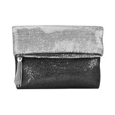 La Regale Ombre Mesh Foldover Clutch ($58) ❤ liked on Polyvore featuring bags, handbags, clutches, silver, fold over handbag, hand bags, fold over purse, foldover handbag and foldover purse