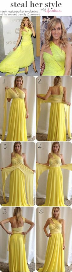 Steal Sarah Jessica Parker& Look with Henkaa& signature Sakura Convertible Dress - Look like Sex and the City& Carrie Bradshaw with these simple tricks and a Sakura Convertible Dress! Look Fashion, Diy Fashion, Ideias Fashion, Fashion Dresses, Convertible Clothing, Convertible Dress, Diy Dress, Wrap Dress, Dress Up