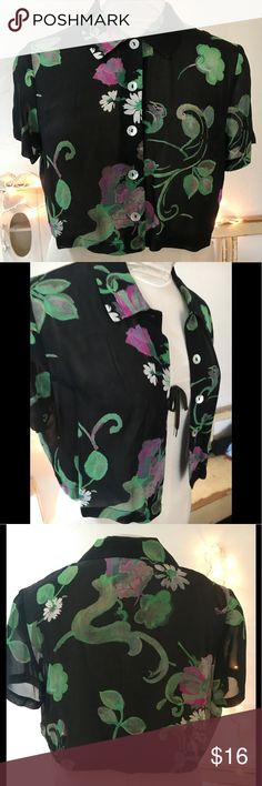 """CDC CAREN DESIREE CLOTHING BLOUSE/JACKET TOP 8P CDC Caren Desiree company cropped floral blouse/ jacket. Pre owned, excellent condition. No rips, or stains. Clean , no odors and from a smoke free home. SZ is 8 Petite. 100% rayon. Measurements : armpit to armpit flat side to side: 19"""" shoulder to shoulder at widest: 16"""" length from top of shoulder to bottom: 16 1/2"""" CDC CAREN DESIREE Tops Button Down Shirts"""