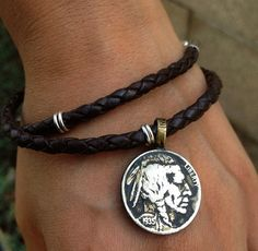 "Coin Jewelry -  Buffalo Nickel Bracelet, ""Legacy Leather Bracelet"", Handmade from US Indian Head Coin, Unique Gift Idea"