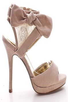 BEIGE VELVET BOW AND LACE ANKLE CUFF PEEP TOE HIGH HEELS