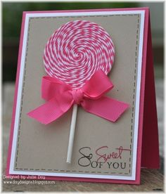 Lollipopmade with pink and white Baker's Twine topped off with a pretty pink bow. You can't beat Baker's Twine for cards, gifts, tags and other crafts!