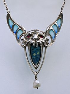 JUGENDSTIL Winged Beast Pendant - German, c.1900