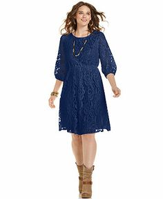 ING Plus Size Three-Quarter-Sleeve Lace Dress - Plus Size Dresses - Plus Sizes - Macy's