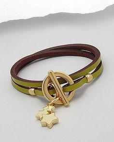 leather bracelet with star charms