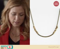Maura's red blazer and curved bar necklace on Rizzoli and Isles. Outfit Details: http://wornontv.net/18688