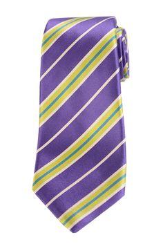 KITON Napoli Hand-Made Seven Fold Purple-Green Repp Striped Silk Tie NEW