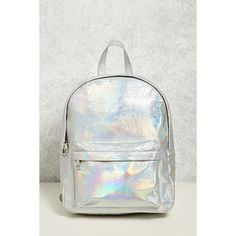 Forever21 Iridescent Structured Backpack ($28) ❤ liked on Polyvore featuring bags, backpacks, forever 21 backpacks, iridescent backpack, structured bag, white bag and backpack bags