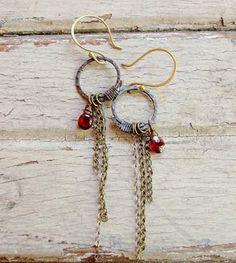 Garnet Chain Drop Earrings