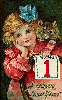 Vintage New Year Postcard, ca. 1900s