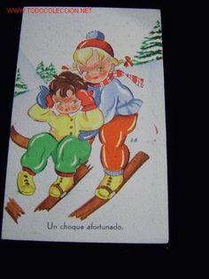 POSTAL NIÑOS ESQUIANDO (Postales - Niños)