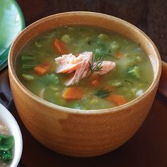 Split Pea Soup With Smoked Salmon (I grew up eating split pea soup.. the salmon is a new twist..:)