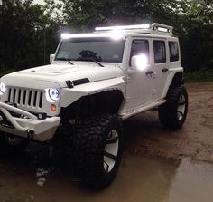 White 2015 Jeep Wrangler with fluorescent white-blue lights. Lifted and customized. Jeep Jk, Jeep Rubicon, Jeep Truck, White Jeep Wrangler Unlimited, Jeep Wrangler Lifted, Chevy Trucks, Custom Jeep, Custom Trucks, Trucks
