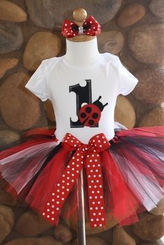 SALE 1st Birthday Ladybug Tutu Outfit 12 Month by sweetlilytutus, $39.99
