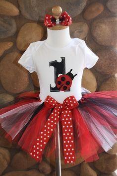 SALE 1st Birthday Ladybug Tutu Outfit 12 Month by sweetlilytutus, $39.99