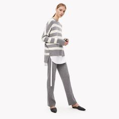 Cashmere Slouchy Stripe Pullover