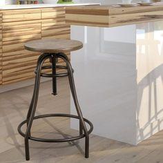 Adeco Adjustable Logan Metal Stool With bamboo Seat