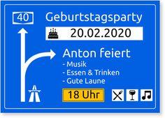 Einladungskarten Geburtstag, Autobahnschild