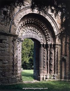 Norman arch from the cloisters into the church at Lilleshall Abbey, Shropshire