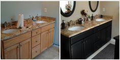 Check out this before & after of a double vanity transformed with our Lamp Black acrylic latex paint. Thanks for sharing, Janice (in North Carolina)!
