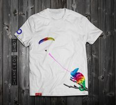 "www.aloft.clothing ""Chameleon Shot"" men's t-shirt, white cotton, paragliding brand, casual line Like our page: https://www.facebook.com/AloftBoundaryLayerApparel"