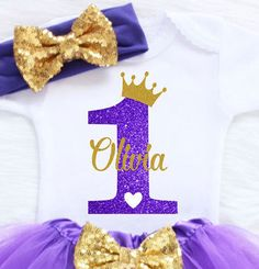 Personalized First Birthday Outfit Girl. This outfit is perfect for your little girls birthday party, cake smashing and birthday photo shoot. We use a premium bodysuit that is extremely soft and loose fitting. Our bodysuits and glitter vinyl is CPSIA CERTIFIED. Our glitter will not flake,