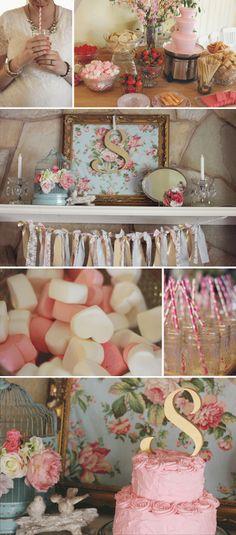 {Sisilia's} Pink and Gold Baby Shower.  http://mrswolfgramm.blogspot.com  #babyshower #pink #gold #mint #boho #vintage #party