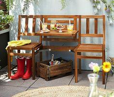 Balkonbank mit Tisch - 99,95€ -  Ideal für Balkone und sehr kleine Terrassen Flexibel: als 2er-Bank mit Tisch oder als 3er-Bank verwendbar Aus hochwertigem Akazienholz FSC® 100% Vorgeölt – wetterfest und widerstandsfähig B x H x T ca. 130 x 85 x 52 cm Tischhöhe ca. 63/75 cm;  Für den Umbau sind nur wenige Handgriffe nötig. Der mittlere Sitzteil lässt sich ganz einfach per Steckmechanismus als Tischfläche an der Rückenlehne befestigen, dabei sind zwei verschiedene Positionen möglich.