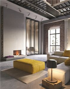 Industrial Interior Design Yellow Chairs Lamp Bulbs Table Glass Door Large Home Decor Clock