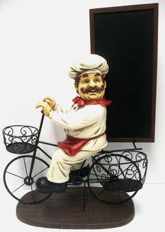 Fat Italian French Bistro Chef Statue Figurine Bicycle Chalkboard Menu Board | eBay