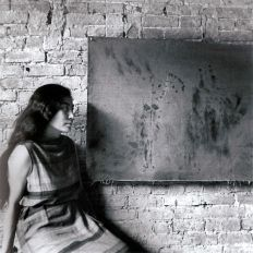 Painting to see in the dark (Version 1)  Installation with Yoko Ono, AG Gallery, New York, July 1961 photo by George Maciunas